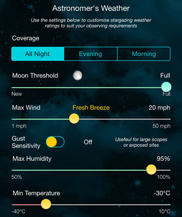 Scope Nights Astronomy Weather - Custom Stargazing Ratings